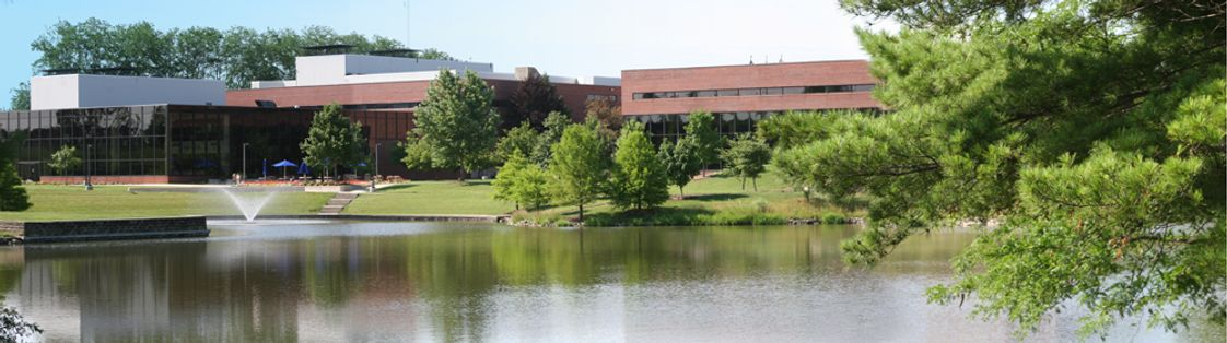Lincoln Land Community College Photo - Menard and Sangamon Halls, the main instructional buildings at Lincoln Land Community College, feature a beautiful outdoor gathering and study area on a lake.
