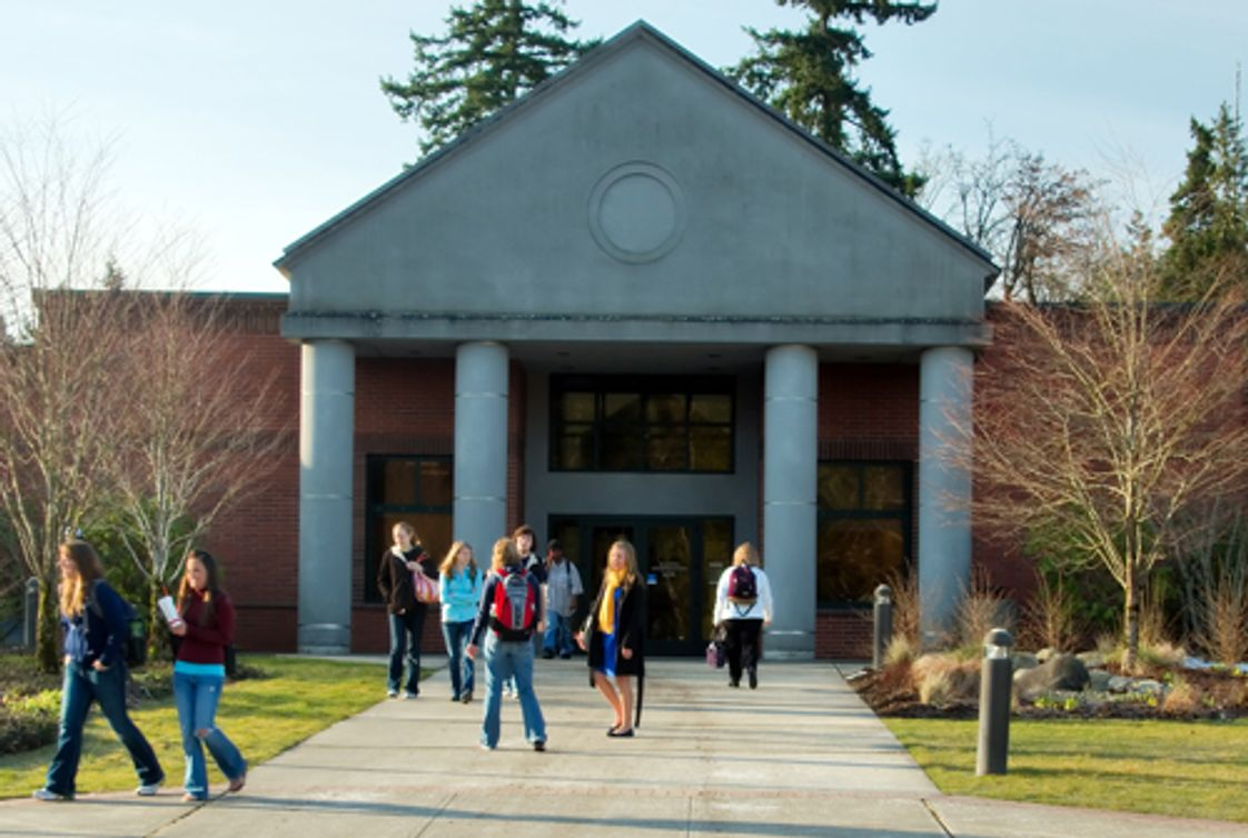 Pierce College-Fort Steilacoom Photo #1 - Students gather outside the Gaspard Building on the Puyallup Campus.